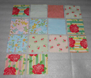 "Quilting Squares 5"" Stripes Roses Check Animals Baby Sewing Craft Quilt 14 Lot"