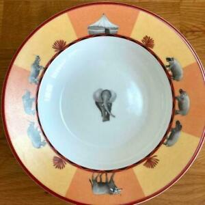 Hermes Porcelain Africa Soup Pasta Plate Tableware Dish Orange Animal New 9.0 in