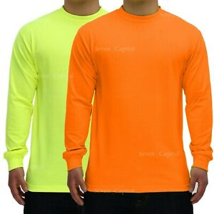 Hi Vis T Shirt Safety Yellow Orange Non ANSI Long Sleeve Shirt High Visibilby