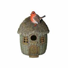 Wicker Effect Bird House with a Robin