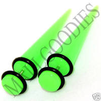 0373 Fake Cheaters Faux Illusion Ear Stretchers Tapers Pugs 0G Neon Lime Green