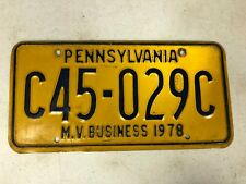 1978 PENNSYLVANIA Motor Vehicle Business License Plate C45-029C