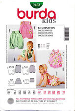 BURDA SEWING PATTERN 9462 BABY 1M-12M COORDINATES, JUMPSUIT ROMPER DRESS PANTIES