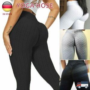 Damen Yoga Leggings Push Up Hüfte Sporthose Kompression Anti-Cellulite Leggins