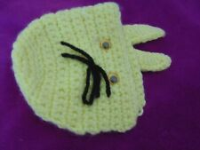 Vtg Antique Hand Crochet Knit Bunny Ears Rabbit Baby Bonnet Cap No Ties Infant