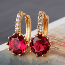 Earrings for Mum Sister Birthday Gift Real 18Ct Gold Filled Ruby Red Round