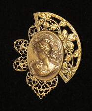 Grecian Goddess Gibson Girl Pin Brooch Antiqued Brass Cameo Vintage Inspired
