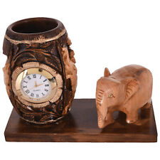 Wooden Pen Stand/Holder Brown Color Elephant With Watch Pen Stand Home&Office