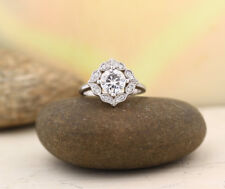 1.55Ct Off White Art Deco Moissanite Vintage Engagement Ring 925 Sterling Silver
