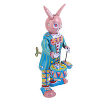 Vintage Wind Up Mr. Rabbit Bunny Drummer Clockwork W/ Key Tin Toy Xmas Gift