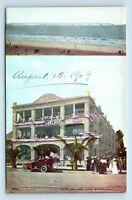 Long Beach, CA - HOTEL DEL MAR MULTIVIEW POSTCARD - AMERICAN FLAGS & OLD CAR
