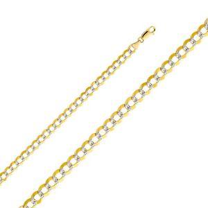 14K two-tone gold 7mm Cuban Bracelet EJCN35433