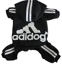 S Adidog Pet Clothes Black w/ White Dog Hoodie Coat Sweatshirt Sweater Jumpsuit