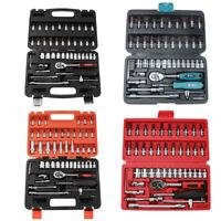 "7-53Pcs 1/4"" Drive Socket Ratchet Wrench Combo Bit Set Car Repair Hand Tool Kit"