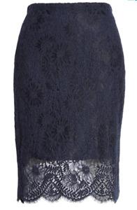 BOSS Riamai Eyelash Lace Hem Skirt Dark Blue NWT $248