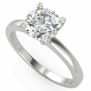 DIAMOND ENGAGEMENT RING D SI1 ROUND SOLITAIRE 14K WHITE GOLD SIZES 4.5 5 5.5 6 7