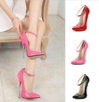 16cm Heel Women Pointed Toe Ankle strap Stilettos Shoes Super High Heel Pumps 10