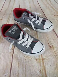 Converse All Star Low Top Slip On No Tie Junior Kids Sz.2 GRAY/RED Skater
