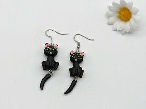 Cute Black 3D Pussy Cat Dangling Fun Novelty Hook Earrings Gift Dress Accessory