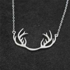 Cute Silver Plated Antler Necklace Deer Horn Animal Pendant Necklace Gift