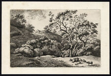 Antique Master Print-LANDSCAPE-HILLS-SHEEP-Kobell-1778