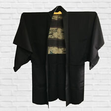 VINTAGE JAPANESE KIMONO, MENS BLACK HAORI, CRAFT MATERIAL, JAPAN, CULTURE