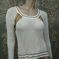 Buffalo David Bitton Crochet Sweater Cream Gold Womens Size S Long Sleeve