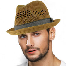Men's Vented Summer Lightweight Derby Fedora Upturn Curl Brim Hat