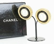 Auth Vintage CHANEL Round Goldtone Faux Pearl Clip On Earrings #28907