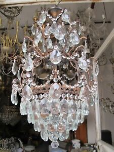 """Antique French Cage Style Bohemia Crystal Chandelier Ceiling Lamp 1940's 16"""" Dmt"""