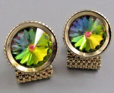 Mens Vintage Jewelry Faceted Green Crystal MESH WRAP AROUND CUFFLINKS N 25