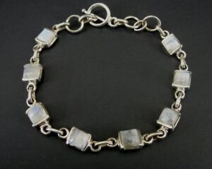 Square Shape Rainbow Moonstone Link Toggle Clasp Sterling Silver 925 Bracelet