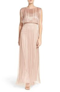 Adrianna Papell Rose Gold Blush Beaded Mesh Blouson Gown NWT Size 4 $349
