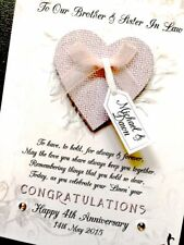 Hand-made personalised wedding Anniversary date card (1st - 60th Anniversary)