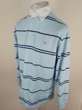 Gant Para Hombre Manga Larga Camiseta Polo De Rugby Azul a Rayas Grande 46 pecho