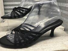 Hillard & Hanson Joyous Women Kitten Heel Black Strap Slip On Comfort Shoe Sz 7