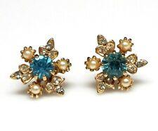 Vtg Art Deco Aquamarine Blue Rhinestone Paste Faux Pearl Earrings Threaded Stud