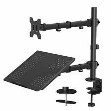 Monitor Stand With Keyboard Tray - Adjustable Desk Mount Laptop Holder With Clam
