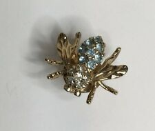 "Panetta Signed Bumble Bee Tact Pin Blue Stones With Rhinestone Head 3/4"" long"