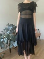 Vintage 1920s 1930s Black Sheer Dress XS 20s 30s Cut Out Puff Sleeves