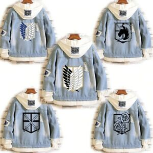 AOT Attack On Titan Denim Jackets Coats Hoodie Anime Eren Levi Unisex Sweatshirt