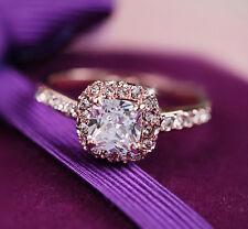 Stunning Women's 18K Rose Gold Plated BIG Simulated Diamond Engagement Ring Gift