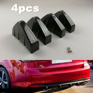 4pc Carbon Fiber Style Rear Lower Bumper Diffuser Fin Spoiler Lip Wing Splitter