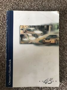 ROVER 45 - 1999 > UK OWNERS MANUAL HANDBOOK.- RCL0362ENG