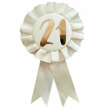 Birthday - Rosette Number Badge - Cream / Rose Gold - Choose Age