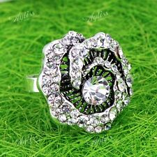 Clear Crystal Rhinestone Flower Adjustable Cocktail Finger Rings Women Gift