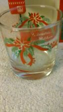 Lot of 4 ANCHOR HOCKING Glasses Christmas Holiday POINSETTIA & RIBBONS - NEW