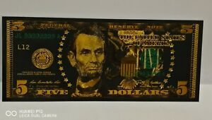 Collectable New Style USA Gold Black Coloured Plated Five Dollar Banknote