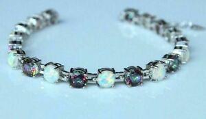 "925 Silver Fire Opal & Mystic Rainbow Fire Stone Tennis Bracelet 7.5""-8"" Adjust"