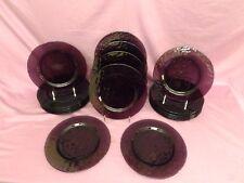 "20pc Bormioli Rocco AMETHYST Purple PALATINA Hammered Glass 9.75"" Dinner Plates"